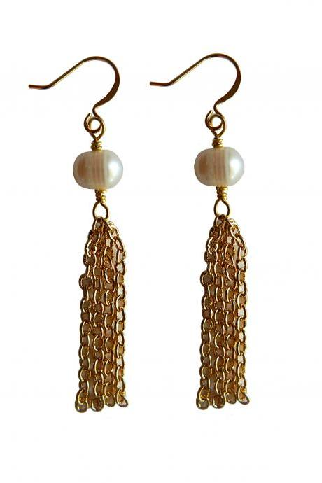 Ivory Freshwater Pearl and Yellow Gold Plated Tassel Dangle Earrings