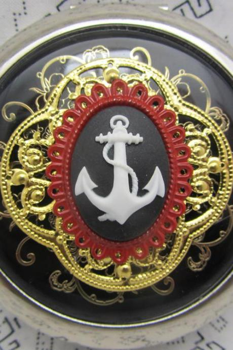 Compact Mirror Anchors Aweigh on Red
