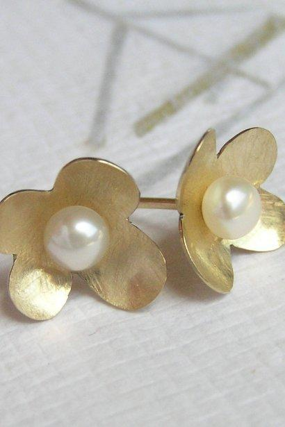 Solid Gold Flower Earrings with a Pearl - 14k yellow gold flower petals