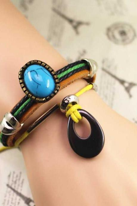 Stone Leather Bracelet, Multilayer Bracelet, Gifts For Her, Gifts For Him, Birthday Gifts