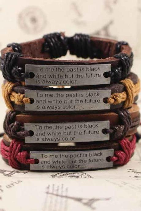 Motto Leather Bracelet, Vintage Bracelet, Gifts For Her, Gifts For Him, Birthday Gifts
