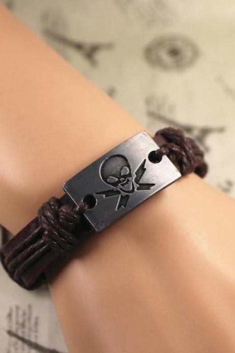 Skull Leather Bracelet, Blessing Bracelet, Vintage Bracelet, Gifts For Her, Gifts For Him, Birthday Gifts