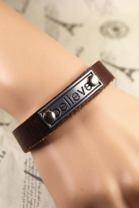 Believe Leather Bracelet, Vintage Bracelet, Gifts For Her, Gifts For Him, Birthday Gifts