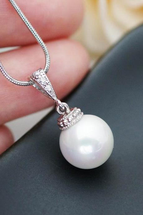 Wedding Jewelry Bridal Necklace Bridesmaid Necklace white shell based pearl drops Necklace Pearl Jewelry