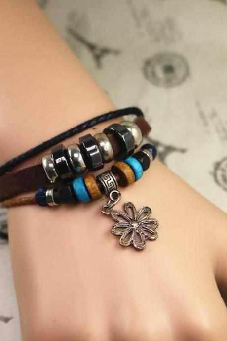 Flower Leather Bracelet, Multilayer Bracelet, Gifts For Her, Gifts For Him, Birthday Gifts