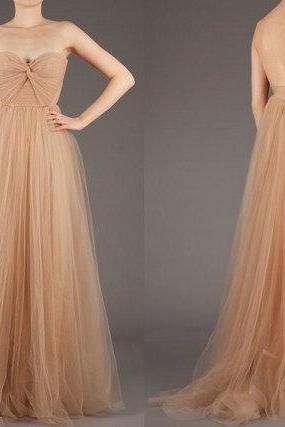 New 2015 Sexy Backless Long Champagne Color Cheap Bridesmaid Dresses For Weddings A Line Tulle Floor Length Wedding Party Dress