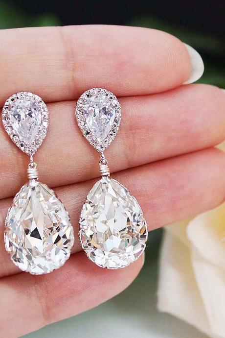Wedding Jewelry Bridal Earrings Bridesmaid Earrings Cubic zirconia earrings with Clear White Swarovski Crystal Tear drops
