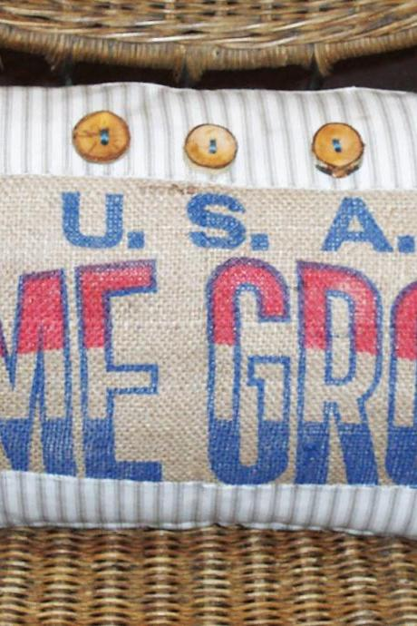 Burlap Sack Patch Kidney Pillow Cover Americana Red White and Blue Neutral Colors Home Grown USA