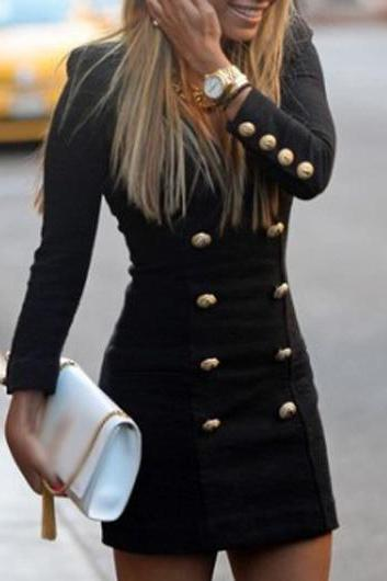 Chic Long Sleeve Button Decorated Black Dress