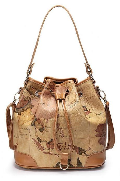 2015 New fashion cute Retro Elegant World Map Handbag & Shoulder Bag