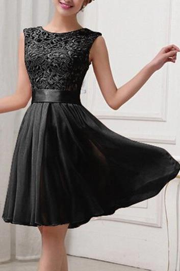 Fashion Lace Splicing Chiffon Knee Length Dress - Black