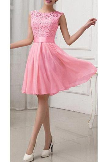 Fashion Lace Splicing Chiffon Knee Length Dress - Rose