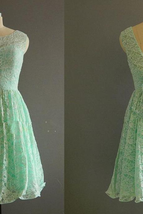 Pretty Short Lace Mint Knee Length Bridesmaid Dresses, Knee Length Bridesmaid Dresses, Bridesmaid Dresses