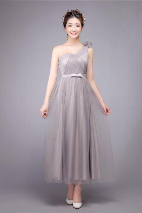 One Shoulder Long Sweetheart Bridesmaid Evening Prom Party Dress - Grey