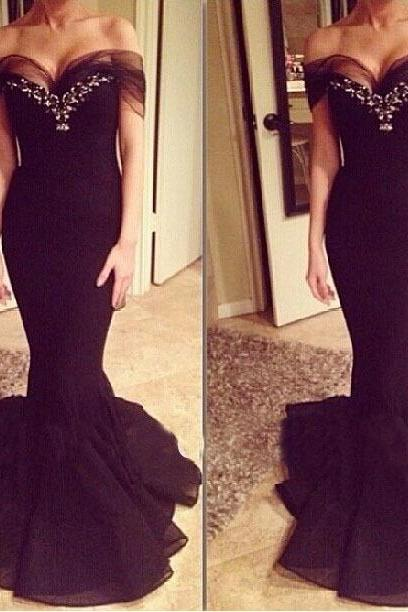 Pretty Black Off shoulder Tulle Mermaid Prom Gown with Beadings, Prom Gowns, Mermaid Prom Gowns, Evening Gowns