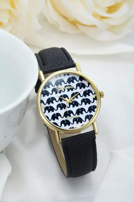 Elephant watch, elephant leather watch, black leather watch, bracelet watch, vintage watch, retro watch, woman watch, lady watch, girl watch, unisex watch, AP00233