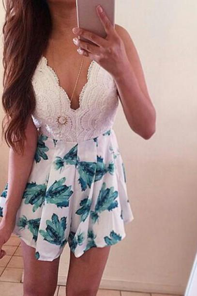 Cute Floral Hot Lace Jumpsuit Romper Shorts EW02