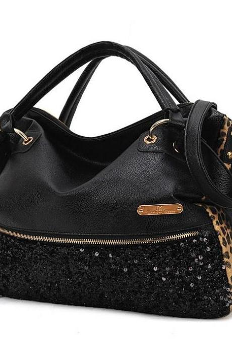 2015 New fashion cute Tassels sequined leopard handbag shoulder bag