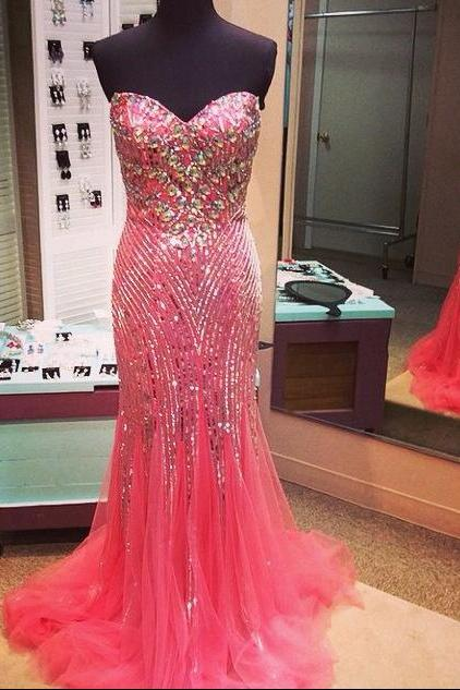 Watermelon Red Tulle Sweetheart Sheath Prom Gown With Crystals And Sequins