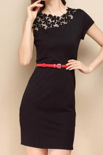Cute Chic Round Neck Black Sheath Dress With Lace