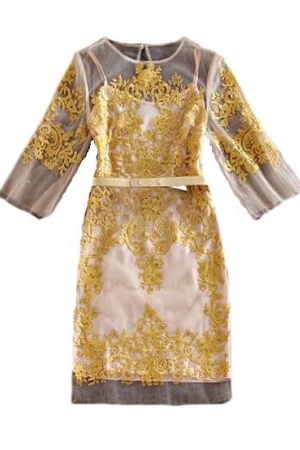 Hand Crafted Gold Organza Embroidered Dress, Evening Cocktail Dress , Indian Dress, Gold Stud Short Sleeve Floral Design Dress, Party Dress