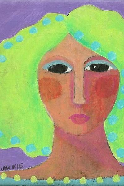 Hand Painted Ceramic Art Tile - Abstract Portrait Painting of a Woman with Bright Green Hair