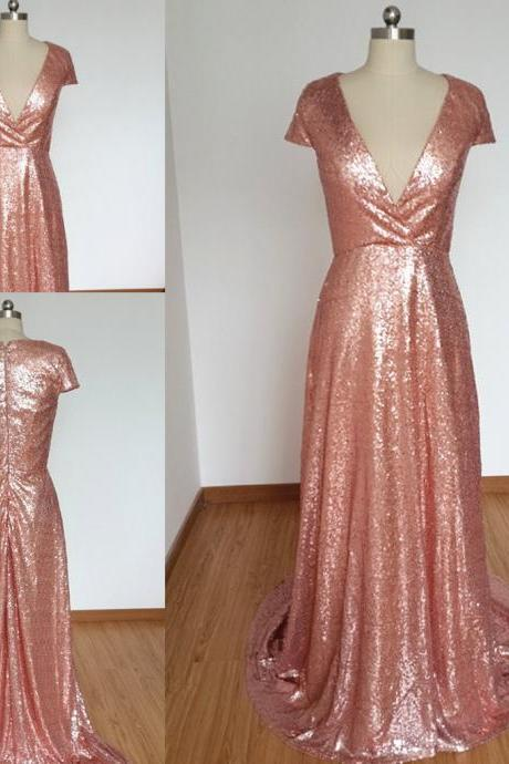 Sexy Deep V-Neck Evening Dresses A-line Cap Sleeve Long Sequined Formal Dresses Party Gowns Special Occasion Dresses