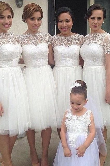 Knee Length White Elegant Wedding Dresses A-line Cap Sleev Lace Appliques Tulle Bridesmaid Dresses,Party Dresses For Wedding,Short Prom Dresses