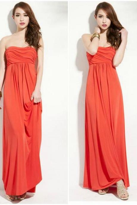 Strapless Tube Dress In Water Melon Red
