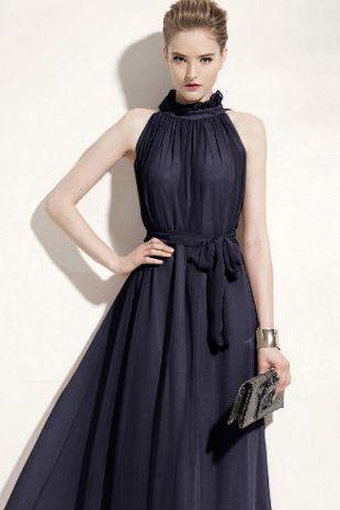 73d368d9d2723b Chiffon Pleated Maxi Dress In Navy Blue