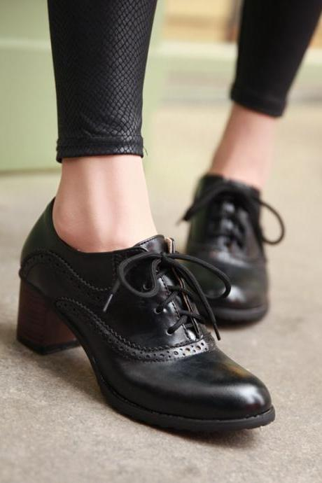 Brogue Womens Oxford Lace Up Wing Tip Retro Mid Chunky Heel Slip On Shoes Black UP2OSPYQU1I80UKQGQ8UK