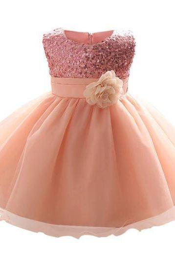 Peach Baby Dress with Free Headband Detachable Peach Corsage Newborn Baby Girls Dresses
