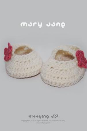 Off White Mary Jane Baby Booties Crochet PATTERN, PDF - Chart & Written Pattern by kittying