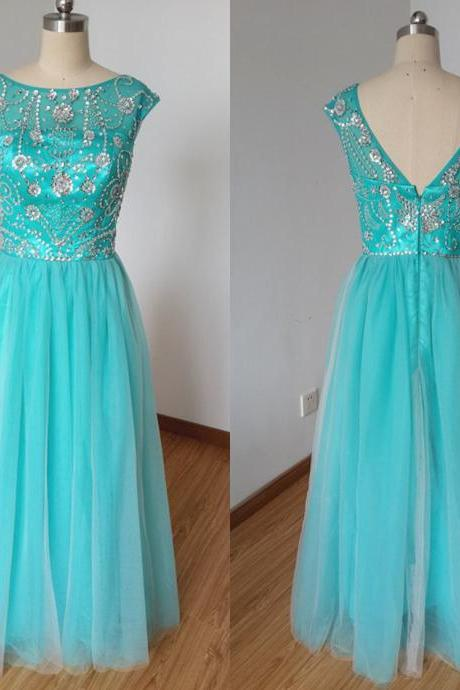 Beautiful Ice Blue Cap Sleeve Backless Crystals Long Tulle Prom Gowns 2015 A-line Scoop Evening Dresses Prom Gowns,Party Dresses