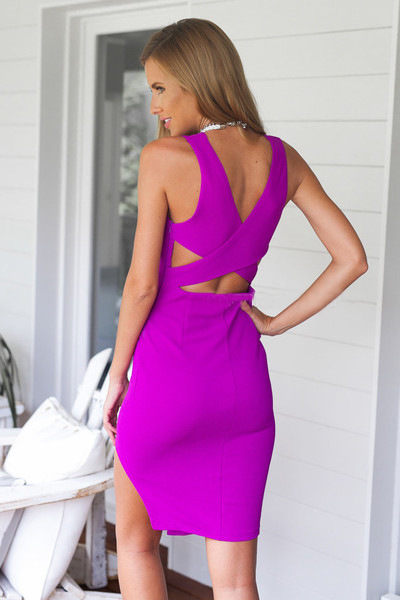 Slit Slim Package Hip Sleeveless V-Neck Dress