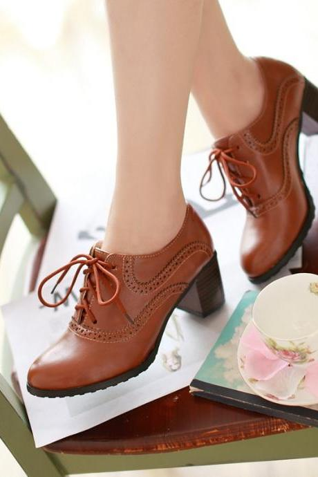 Brogue Womens Oxford Lace Up Wing Tip Retro Mid Chunky Heel Slip On Shoes Brown
