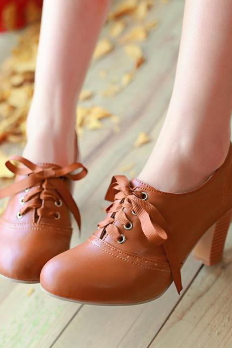 Women'S Punk Pointed Toe Lace Up Platform Block High Heels Ankle Boots Shoes Brown