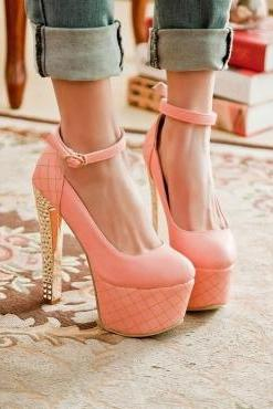 Fashion Round Toe Closed Chunky Ankle Strap Pink PU Pumps