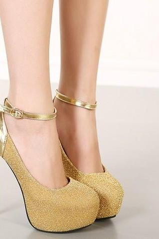 Gold Glittery Round Toe High Heel Pumps with Metallic Shine and Ankle Straps