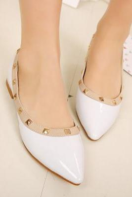 White Pointed Toe Leather Ballerina Pumps with Pyramid Studs, Flat Shoes