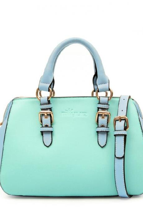 2015 New Fashion women Candy Color Buckle Handbag Tote Shoulder Bag