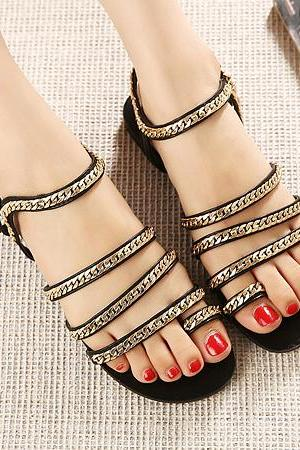 Street Style Black Sandals With Gold Chain