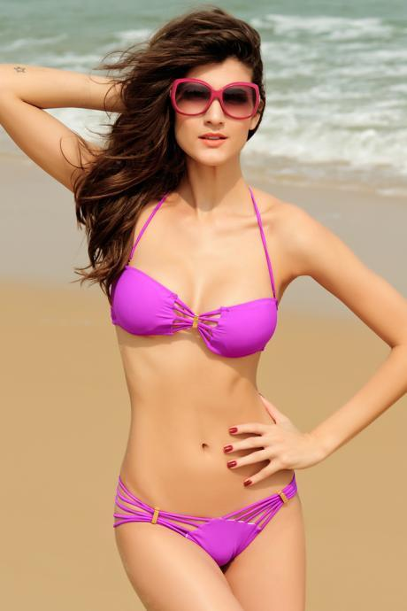 Sexy Halter Neck Solid Pink Purple Bikini Set