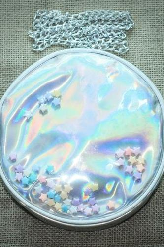 Silver Rainbow Hologram Gammaray Holographic Purse Star Circle Shoulder Bag Chain Bag