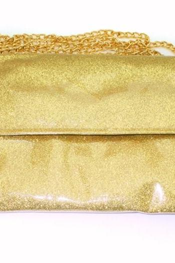 Sparkling Bling Glitter Gold Clutch Evening Party Purse Shoulder Bag Chain Bag