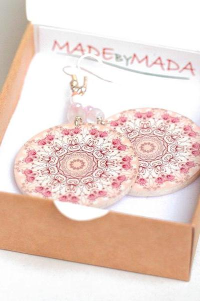Delicate pink Rosette Round - decoupage earrings - double faced