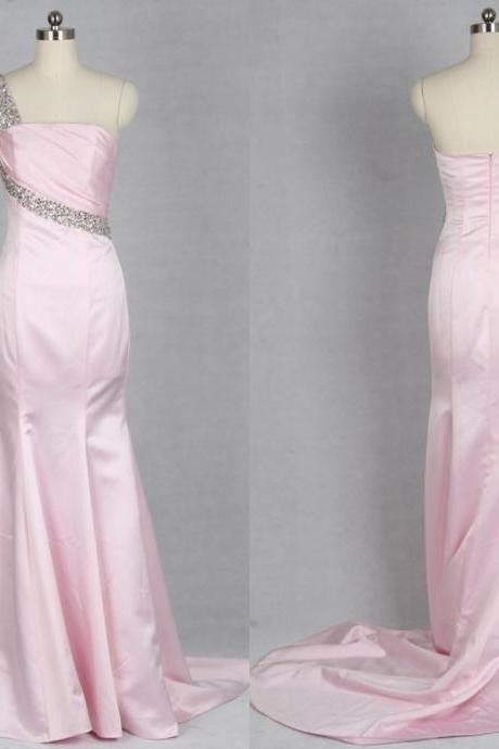 2016 New Pink Formal Party Dresses,One shoulder Evening Dresses,Mermaid Backless Prom Gowns,Sequined Special Occassion Dresses