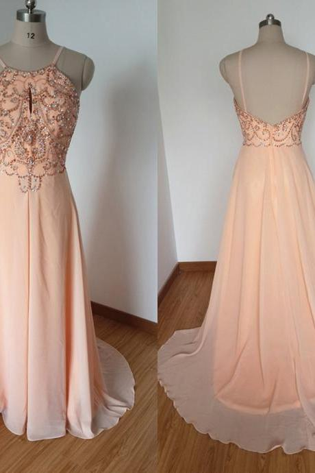 Custom Made Long Chiffon Prom Gowns,A-line Spghetti Backless formal Party Dresses,Beaded Crystals Graduation Dresses