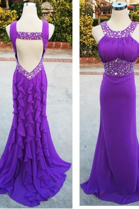 Purple Sexy evening Dresses,Mermaid Prom Gowns,Scoop Backless Party Dresses,Beaded crystals Long Chiffon Formal Dresses,Women Gowns
