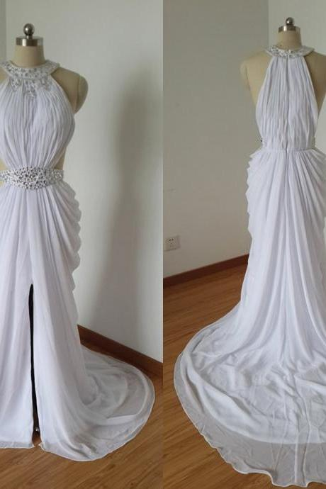 2015 Sexy White Chiffon Beaded Long Prom Dress with Long Train,Crystals Party Dresses